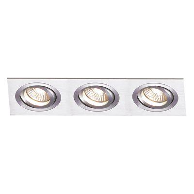 Spot Embutido Ecco Ret Triplo Alumínio Escovado 6,5x51cm Bella Iluminação 3 AR111 Bivolt NS5113A Quartos e Cozinhas