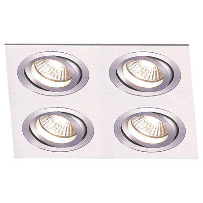 Spot Embutido Ecco Quad Alumínio Escovado 6,5x34cm Bella Iluminação 4 AR111 Bivolt NS5114A Quartos e Entradas