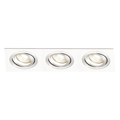 Spot Embutido Ecco Ret Triplo Alumínio Branco 12x36cm Bella Iluminação 3 E27 PAR20 Bivolt NS5203B Entradas e Salas