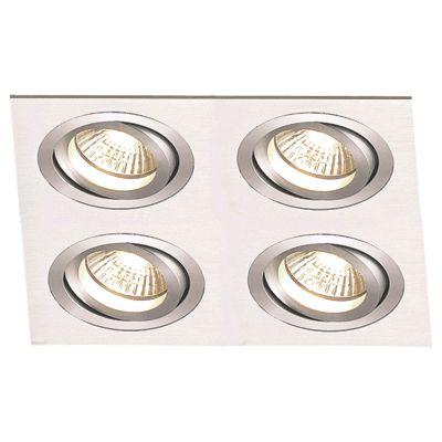 Spot Embutido Ecco Quad Alumínio Escovado 12x24cm Bella Iluminação 4 E27 PAR20 Bivolt NS5204A Quartos e Cozinhas