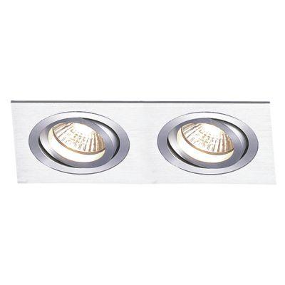 Spot Embutido Ecco Ret Duplo Alumínio Escovado 12x34cm Bella Iluminação 2 PAR30 Bivolt NS5302A Salas e Quartos