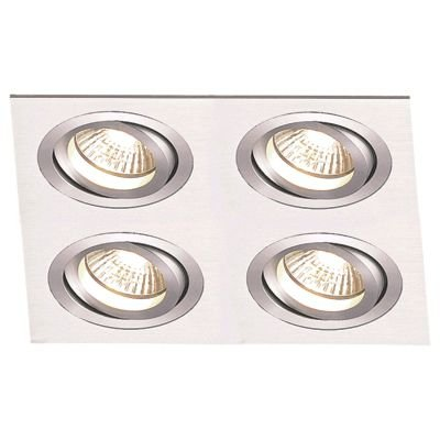 Spot Embutido Ecco Quad Alumínio Escovado 12x34cm Bella Iluminação 4 PAR30 Bivolt NS5304A Entradas e Corredores