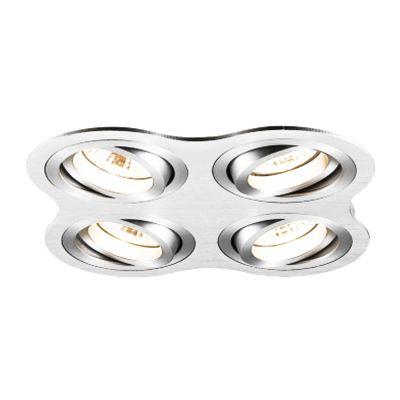 Spot Embutido Ouse Quad 4 Foco Alumínio 5,8x25,4cm Bella Iluminação 4 GU10 Dicróica Bivolt NS5600-4A Salas e Hall