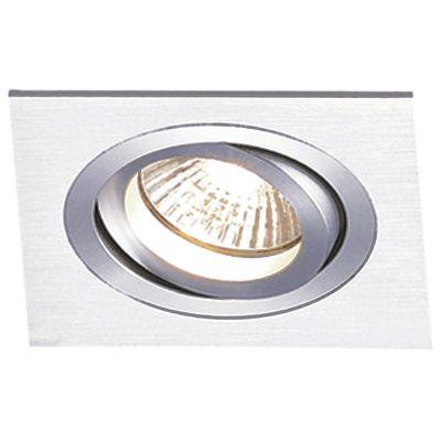 Spot Embutido Ecco Quad Alumínio Escovado 5,8x9,2cm Bella Iluminação 1 GU10 Dicróica Bivolt NS5601A Salas e Hall