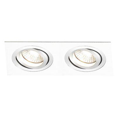 Spot Embutido Ecco Ret Duplo Alumínio 5,8x17,4cm Bella Iluminação 2 GU10 Dicróica Bivolt NS5602B Salas e Quartos