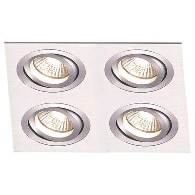 Spot Embutido Ecco Quad 4 Foco Alumínio 5,8x17,4cm Bella Iluminação 4 GU10 Dicróica NS5604A Entradas e Quartos
