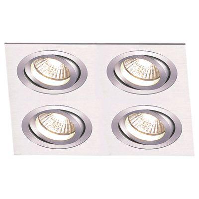 Spot Embutido Ecco Quad 4 Foco Alumínio Escovado 8x24cm Bella Iluminação 4 AR70 Bivolt NS5704A Quartos e Entradas