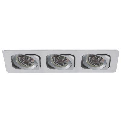 Spot Embutido Ret Monet Triplo Alumínio Escovado 11,5x35cm Bella Iluminação 3 PAR20 Bivolt NS6203A Cozinhas e Salas