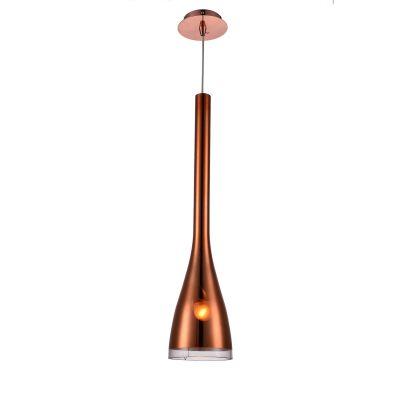 Pendente Vertical Dart Sino Metal Vidro Cobre 64x15cm Bella Iluminação 1 E27 Bivolt OD017B Mesas e Entradas