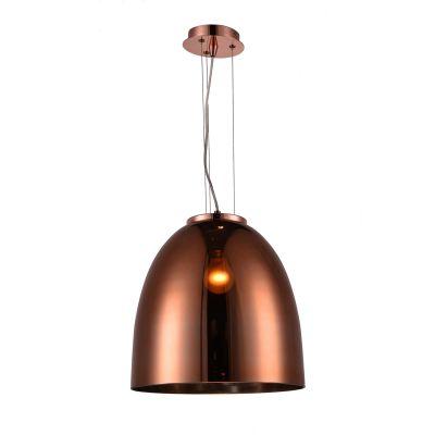 Pendente Oval Song Vertical Metal Vidro Cobre 42x40cm Bella Iluminação 1 E27 Bivolt OD020B Corredores e Cozinhas