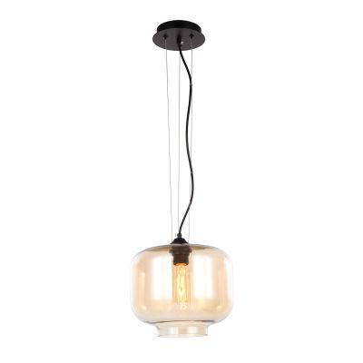 Pendente Redondo Shade Aço Vidro Transparente Âmbar 21x25cm Bella Iluminação 1 E27 220V OP010B Balcões e Entradas