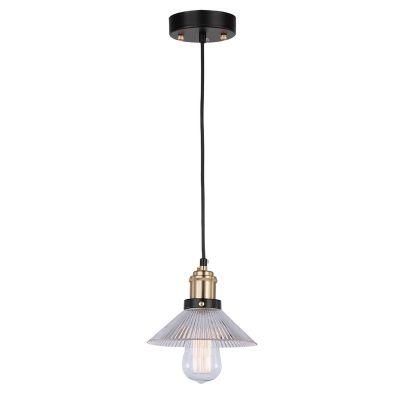 Pendente Factory Metal Bronze Vidro Transparente 50x18cm Bella Iluminação 1 E27 Bivolt OP023B Entradas e Salas