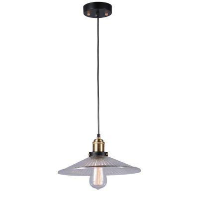 Pendente Factory Metal Bronze Preto Vidro Transparente 50x30cm Bella Iluminação 1 E27 Bivolt OP025B Balcões e Salas