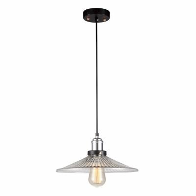 Pendente Factory Metal Cromado Vidro Transparente 50x30cm Bella Iluminação 1 E27 Bivolt OP025C Balcões e Salas