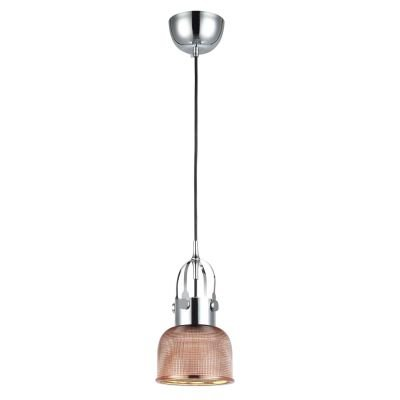 Pendente Vertical Mesh Metal Cromado Vidro Cobre 11x14,5cm Bella Iluminação 1 E27 Bivolt OP046B Balcões e Cozinhas