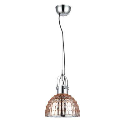 Pendente Fuzzy Metal Cromado Vidro Cobre 14,5x22,5cm Bella Iluminação 1 E27 Bivolt OP047B Entradas e Corredores