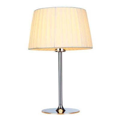 Abajur Baju Cupula Tecido Branco Metal Cromado 40x25cm Bella Iluminação 1 E27 Bivolt OP048TS Quartos e Cabeceiras