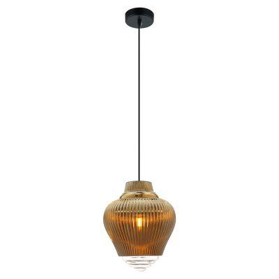 Pendente Fuzy Metal Vidro Transparente Dourado 28x23cm Bella Iluminação 1 E27 40W Bivolt OP054B Cozinhas e Balcões