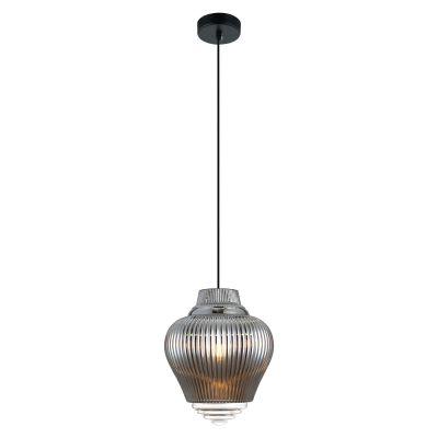 Pendente Fuzy Metal Vidro Transparente Cromado 28x23cm Bella Iluminação 1 E27 40W Bivolt OP054C Cozinhas e Balcões