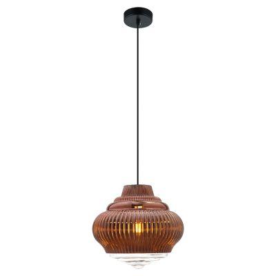 Pendente Fuzy Metal Vidro Transparente Cobre 25x27,5cm Bella Iluminação 1 E27 40W Bivolt OP055A Balcões e Cozinhas