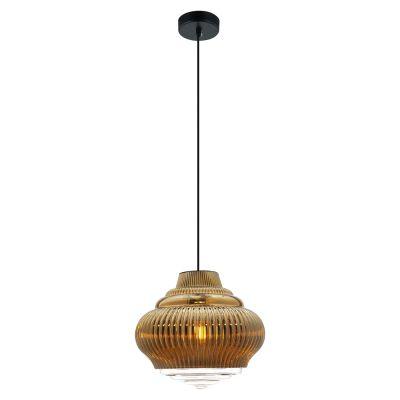 Pendente Fuzy Metal Vidro Transparente Dourado 25x27,5cm Bella Iluminação 1 E27 40W Bivolt OP055B Balcões e Salas