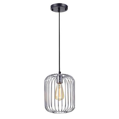 Pendente Aramado Fill Vertical Metal Cromado 25,5x20cm Bella Iluminação 1 E27 40W PD013C Corredores e Cozinhas