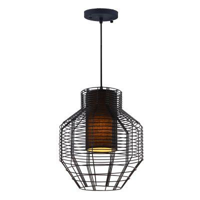 Pendente Net Aramado Vertical Metal Preto 55x46,5cm Bella Iluminação 1 E27 40W Bivolt PD015S Entradas e Cozinhas