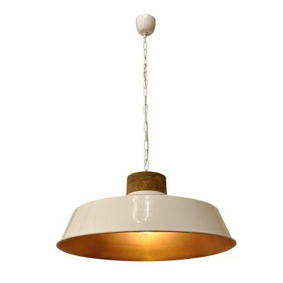 Pendente Goa Redondo Metal Branco Madeira 33x62cm Bella Iluminação 1 E27 Bivolt PEI0002GBR Balcões e Cozinhas