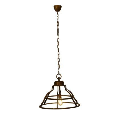 Pendente Aramado Jais Conico Metal Ouro Velho 45x56cm Bella Iluminação 1 E27 Bivolt PEI0006BO Entradas e Cozinhas