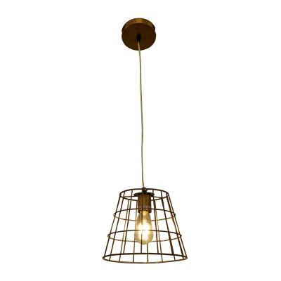 Pendente Aramado Kai Conico Metal Ouro Velho 22x25cm Bella Iluminação 1 E27 Bivolt PEI0010BO Salas e Entradas