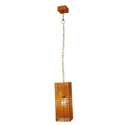 Pendente Pradesh Retangular Vertical Metal Cobre 40x16cm Bella Iluminação 1 E27 Bivolt PEI0025CO Salas e Balcões