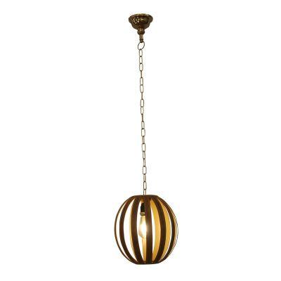 Pendente Oval Vana Tecido Couro Sintético Marrom 31x26cm Bella Iluminação 1 E27 Bivolt PEI0027MA Quartos e Salas