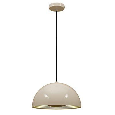 Pendente Mezza Redondo Metal Branco Prata 50x50cm Bella Iluminação 1 E27 Bivolt SE500B Corredores e Cozinhas