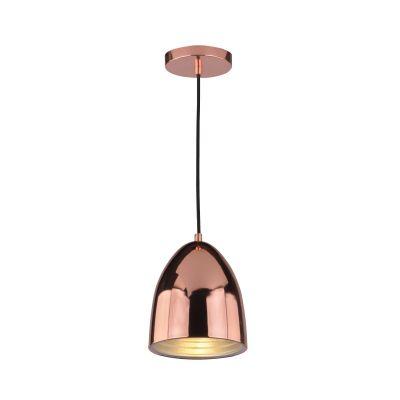 Pendente Mezza Vertical Oval Aço Metal Cobre Ø16cm Bella Iluminação 1 E27 Bivolt SE616A Entradas e Cozinhas