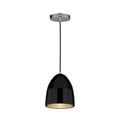 Pendente Mezza Vertical Oval Aço Metal Preto Ø16cm Bella Iluminação 1 E27 Bivolt SE616P Entradas e Cozinhas