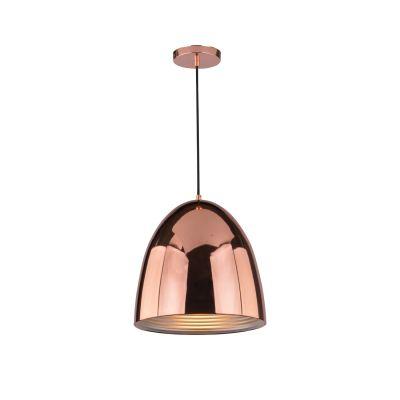 Pendente Mezza Vertical Oval Aço Metal Cobre Ø30cm Bella Iluminação 1 E27 Bivolt SE633A Entradas e Cozinhas