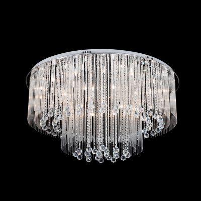Plafon Notte Aço Cromado Cristal Transparente 56x120cm Bella Iluminação 31 G9 Halopin SG3082 Salas e Entradas