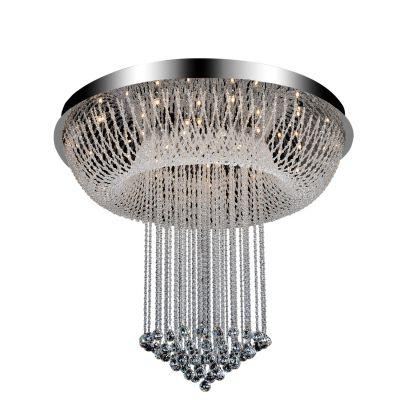 Pendente Vassily Redondo Aço Cromado Cristal 100x120cm Bella Iluminação 30 G9 / 6 GU10 Dicróica SG3095 Salas e Hall