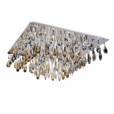 Plafon Aço Cromado Cristal Transparente 26x100cm Bella Iluminação 14 G9 Halopin Bivolt SG3119R Salas e Hall