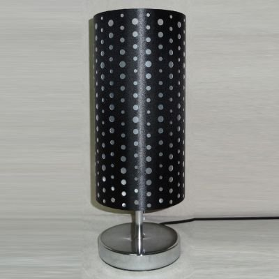 Abajur Cupula Tecido Preto Metal Cromado 35x14cm Bella Iluminação 1 E27 Bivolt SL001B Cabeceiras e Criados-Mudos
