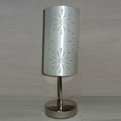 Abajur Cupula Tecido Prata Metal Cromado 38x12,5cm Bella Iluminação 1 E27 Bivolt SL002 Cabeceiras e Criados-Mudos