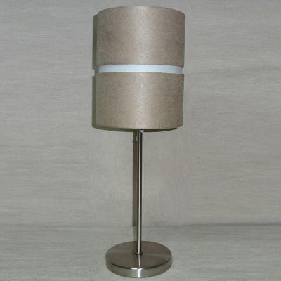Abajur Tubular Metal Cromado Tecido Bege 46x16cm Bella Iluminação 1 E27 Bivolt SL010A Cabeceiras e Criados-Mudos