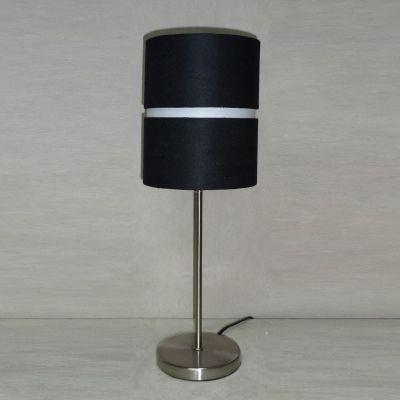 Abajur Tubular Metal Cromado Tecido Preto 46x16cm Bella Iluminação 1 E27 Bivolt SL010C Cabeceiras e Criados-Mudos