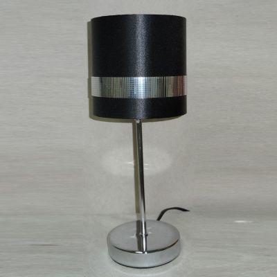 Abajur Tubular Metal Tecido Preto Prata 38,5x15cm Bella Iluminação 1 E27 Bivolt SL011 Cabeceiras e Criados-Mudos