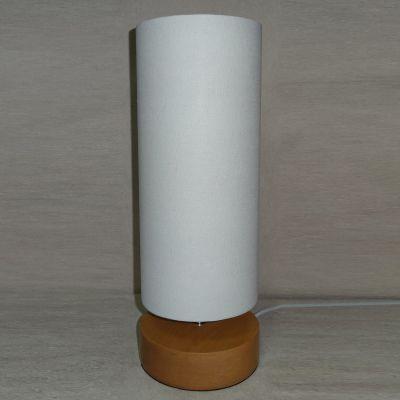 Abajur Madeira Tubular Bege Cupula Tecido Branco 42x15cm Bella Iluminação 1 E27 Bivolt SL023 Salas e Quartos