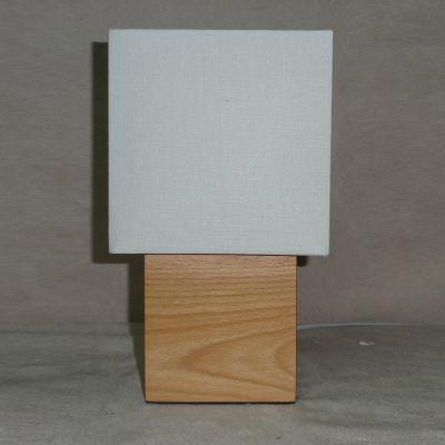 Abajur Madeira Quad Bege Cupula Tecido Branco 42x15cm Bella Iluminação 1 E27 Bivolt SL024 Cabeceiras e Quartos