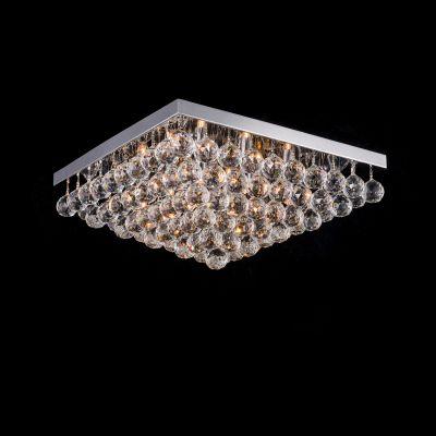 Plafon Sobrepor Spring Metal Cromado Cristal 20x45cm Bella Iluminação 8 G9 Halopin Bivolt SS003 Salas e Entradas