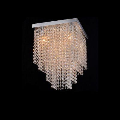 Plafon Sobrepor Niagara Cristal Metal Cromado 37x30cm Bella Iluminação 5 G9 Halopin Bivolt SS014 Salas e Hall