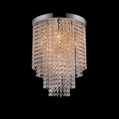 Plafon Redondo Niagara Cristal Metal Cromado 46,5x45cm Bella Iluminação 9 G9 Halopin Bivolt SS016 Salas e Entradas