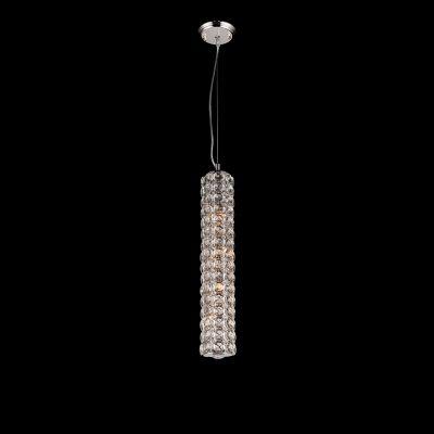 Pendente Tubular Lily Cristal Metal Cromado 58x10cm Bella Iluminação 4 G9 Halopin Bivolt SS021 Salas e Quartos